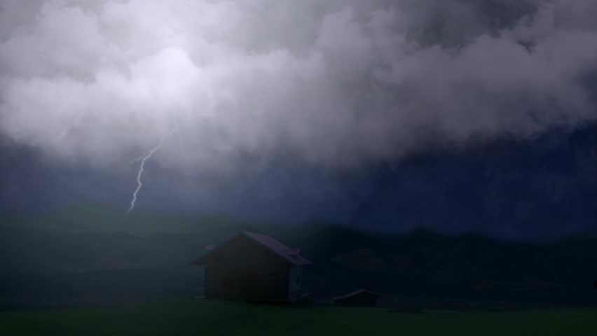 Huge Lightning Bolts Strike Above Stock Footage Video 100 Royalty