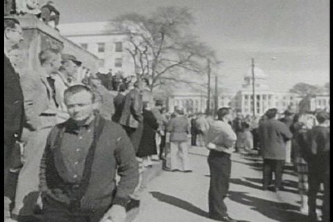 CIRCA 1960s - A crowd of Black Americans gather to march against segregation in Montgomery in 1960.