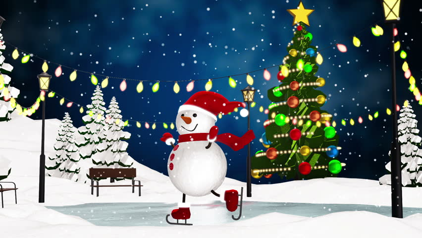 Cute snowman skating in the park. Loop animation   Shutterstock HD Video #13192529