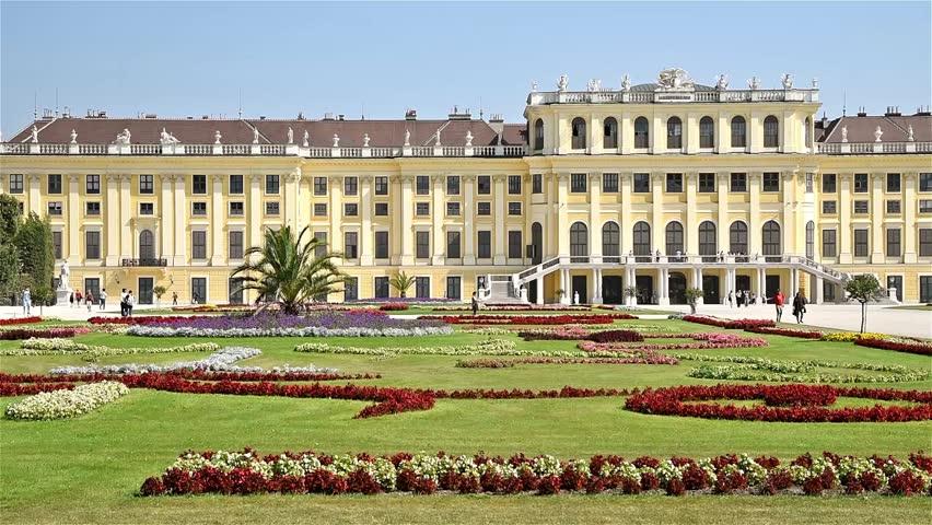 VIENNA, AUSTRIA - AUGUST 25, 2015: Schonbrunn Palace (Schloss Schonbrunn) is a former baroque imperial summer residence located in Vienna.