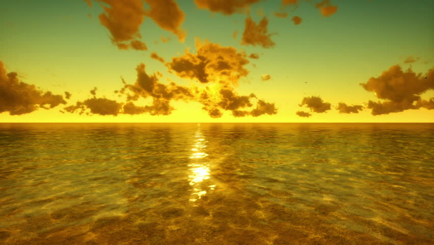 Flying over Sea, Time Lapse Sunrise and Clouds