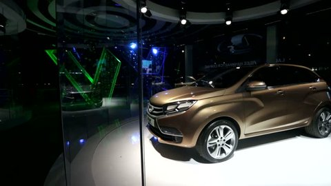 KAZAN, RUSSIA - 28 JULY 2015: LADA cars presented at showroom of LADA CAMPUS during 16th FINA World Championships. LADA is the official car of the World Championship FINA FINA 2015.