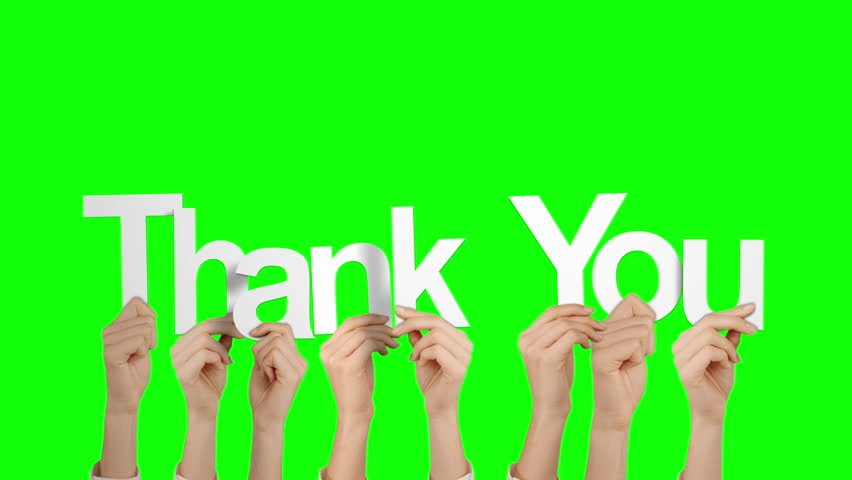 Hands Holding Up Thank You On White Background Stock