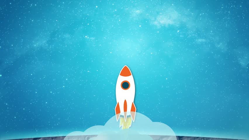 Animation of drawn rocket flying from the moon surface to the stars