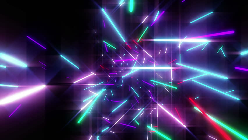 animation of colorful neon disco lasers lights moving in