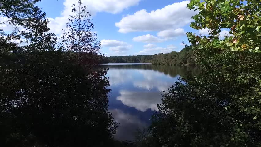 Aerial view of lake with vivid reflections of sky and clouds surrounded by forest