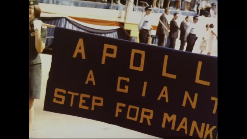 CIRCA 1970s - Crowds and parades greet the astronauts returning from the moon and the Apollo 11 mission. | Shutterstock HD Video #13342808