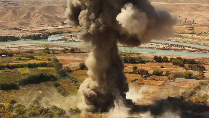 CIRCA 2010s - A massive explosion rocks an Afghan village.