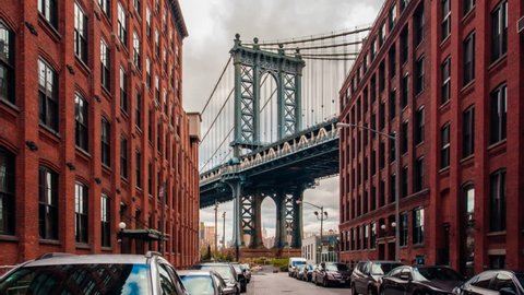 Motion time lapse hyperlapse of Manhattan bridge from Washington street, Brooklyn, New York, USA
