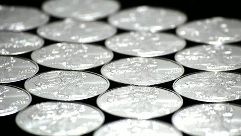 Finance Money Silver Bullion Coins - Silver Eagle Isolated Black