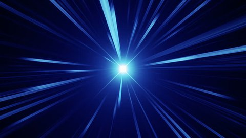 Abstract background with fast flying light streaks. Animation of speed flying into glowing tunnel. Animation of seamless loop.