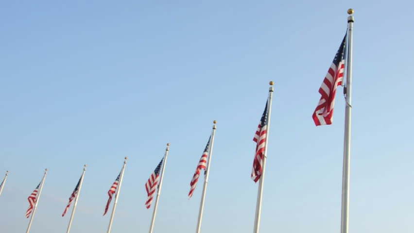 United States of America Flags Waving in the Wind