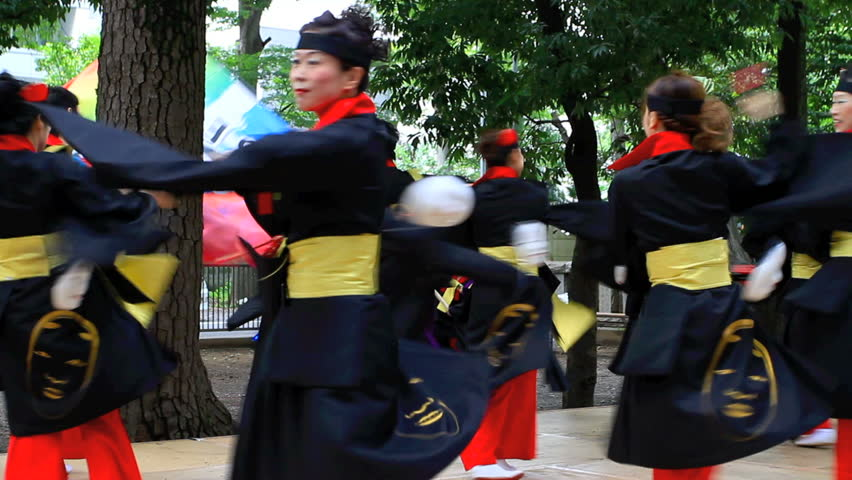 "CHOFU, JAPAN - AUGUST 28: Unidentified dancers perform Japanese traditional dance at the annual  9th Festival ""Yosakoi Matsuri"" in Chofu, Tokyo on August 28th 2011."