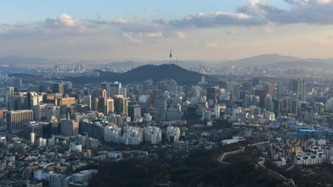 Time lapse of Seoul City Skyline,South Korea.