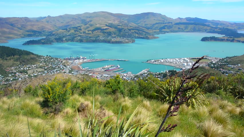 Christchurch Hd: Stock Video Of Aerial Landscape View Of Lyttelton Inner