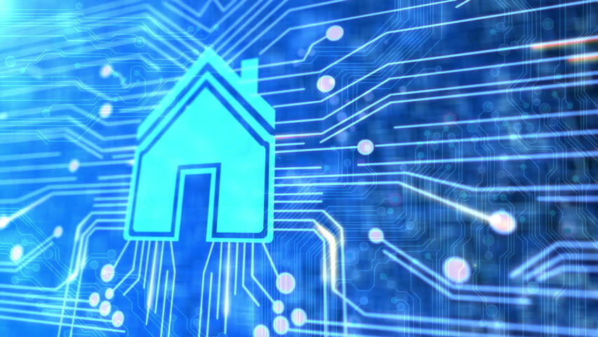Animated printed circuit board with a house to illustrate smart home technology. | Shutterstock HD Video #1340986