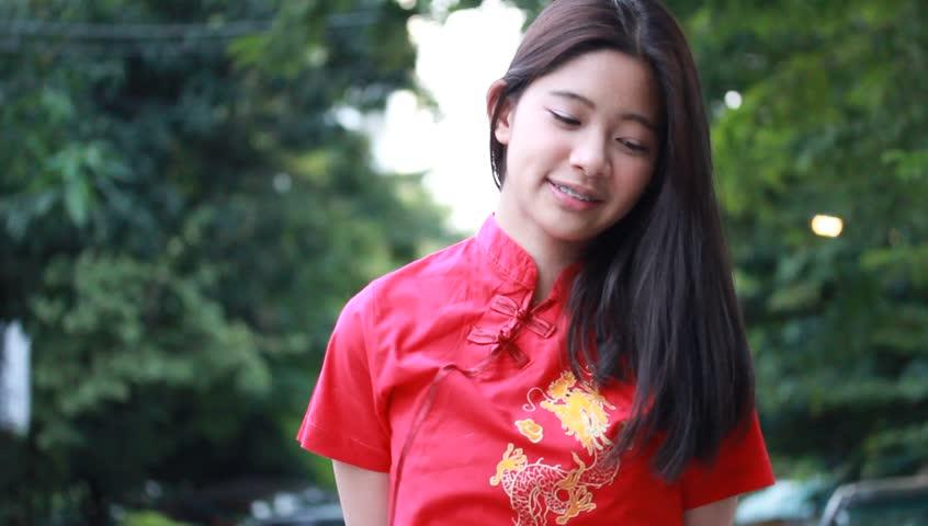 Portrait Of Thai Teen Beautiful Girl In Chinese Dress -1051