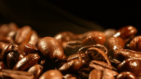 Coffee beans in smoke