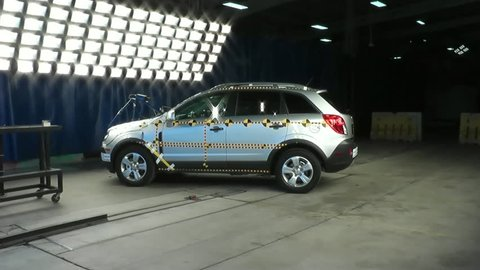 CIRCA 2010s - The National Highway Transportation Safety Board crash tests a 2014 Chevy Captiva.