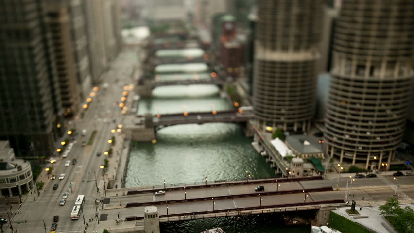 Downtown Chicago River - Tilt Shift