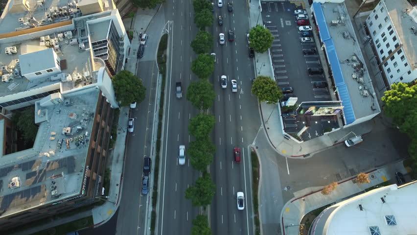 Aerial shot of LA at sunset - Los Angeles, CA, circa 2015 | Shutterstock HD Video #13477298