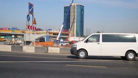 MOSCOW, RUSSIA - AUG 20, 2014: Transport traffic at Leningradskoye highway in Levoberezhny district.