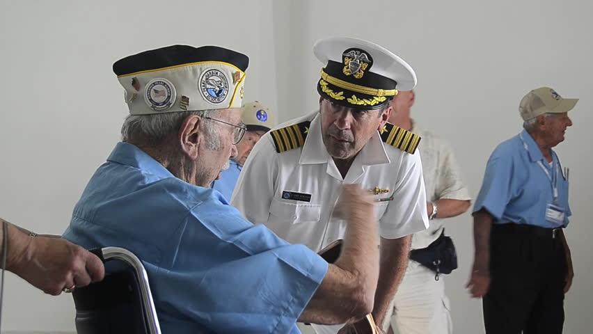 CIRCA 2010s - Pearl harbor survivors visit the Pearl Harbor Memorial in 2012 in Hawaii.
