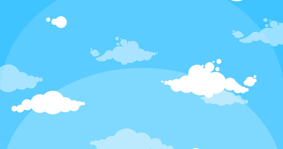 stock video clip of cartoon white clouds moving up blue sky rh shutterstock com cartoon night sky background cartoon sky grass background