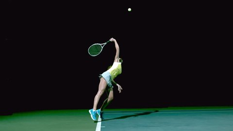 Beautiful tennis serve in slow motion