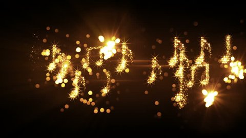 glittering music notes and fireworks. computer generated seamless loop abstract animation. 4k (4096x2304)