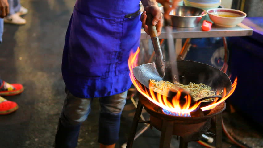 Cooking of street in yaowarat heart of bangkok thailand important destination to visiting