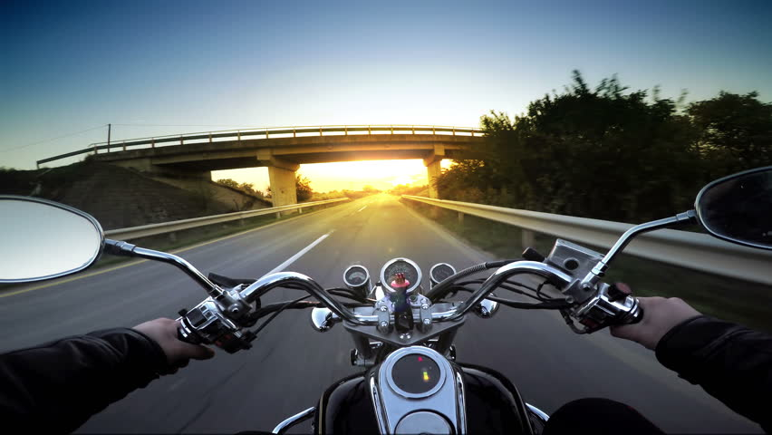Motorcycle ride pov, road adventure toward sunset, 4k
