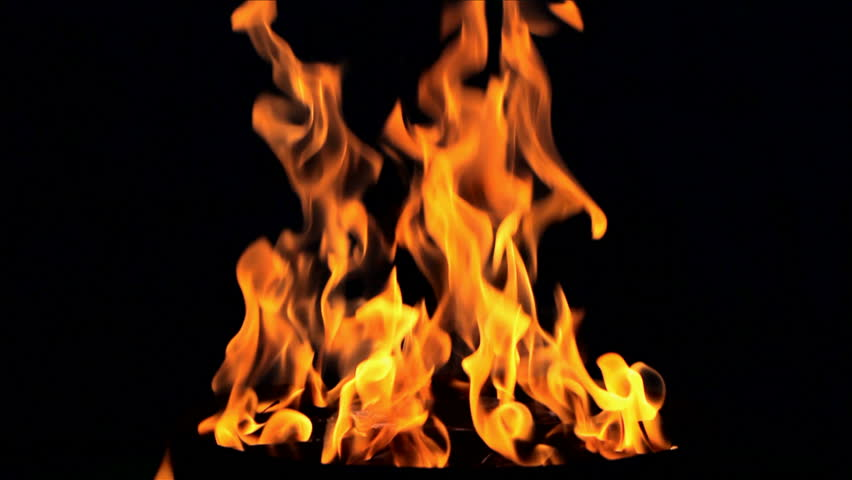 Fire flame on black background SLOW MOTION LOOPING