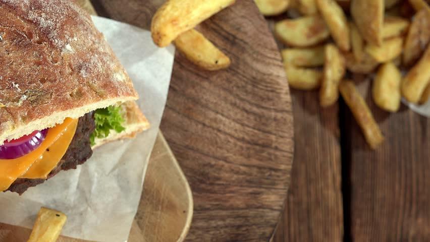 Chiabatta Burger (seamless loopable)   Shutterstock HD Video #13599338