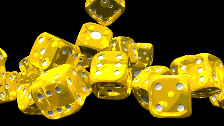 Yellow Dice On Black Background. | Shutterstock HD Video #13612328