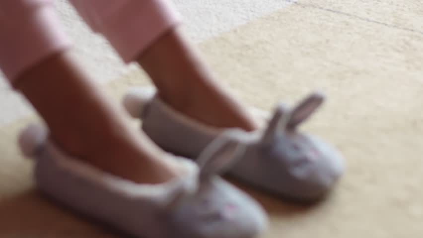 female legs with slippers-rabbits