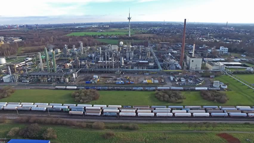MOERS / GERMANY - JANUARY 03 2016 : Aerial of the industrial area Eurotec