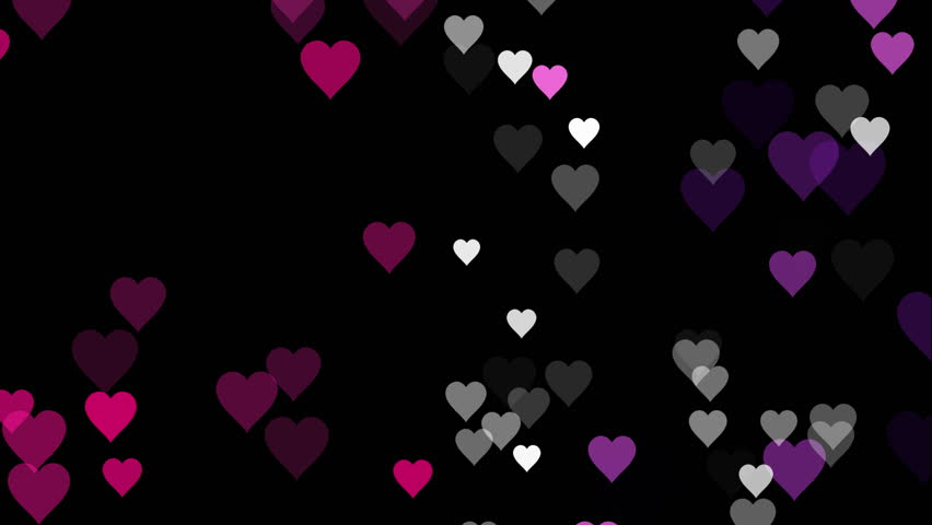 small black designs animated many moving small pink purple white hearts on black