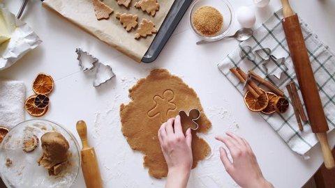 woman hands. Traditional homemade christmas dessert
