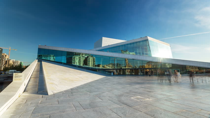The Norwegian Opera and Ballet Day timelapse 4K Oslo opera house