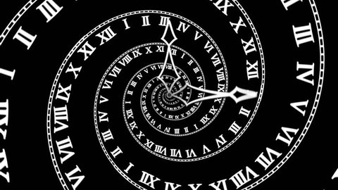 Spiral clock (4K) Looping animation symbolizing losing track of time or traveling through time. With a classic white spiral clock turning on black background.  Smooth 4K CG animation, endless looping.