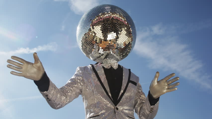 Mr discoball. a super cool disco club character enjoying some summer sunshine | Shutterstock HD Video #13727378