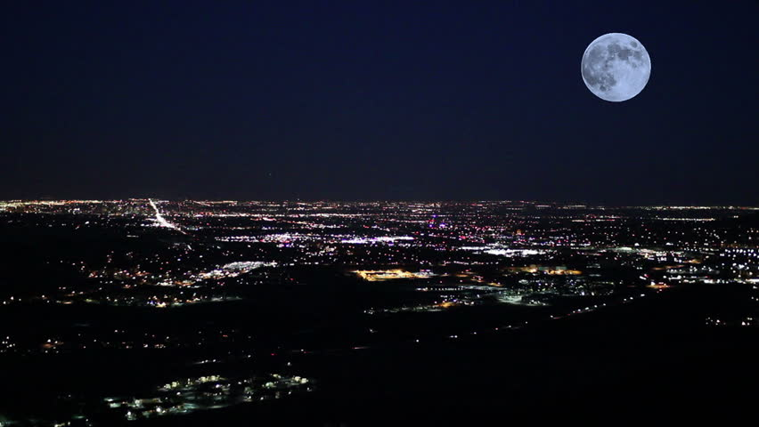 Large scenic moon over Denver at night | Shutterstock HD Video #13744898