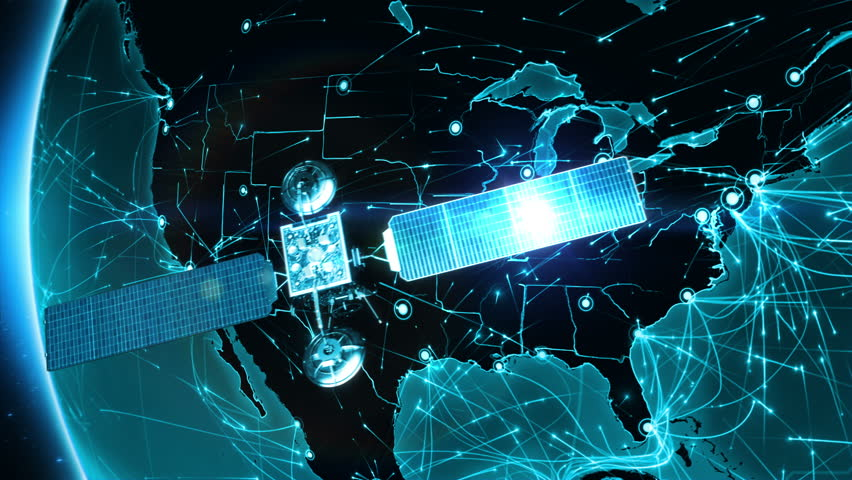 Satellite sending signals to Earth. North America. Animation of the Earth with bright connections. 2 shots in 1 file. Aerial, maritime and ground routes. States and country borders. Cyan. | Shutterstock HD Video #13806527