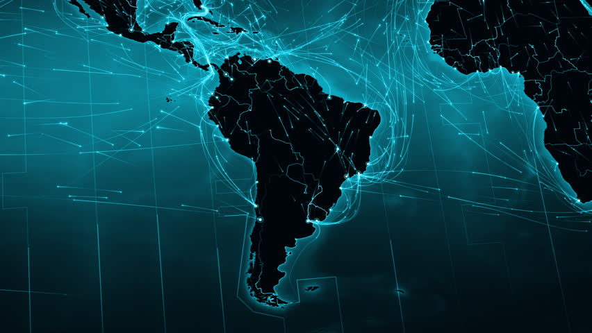 World map with connections. North and South American map with bright connections. 2 shots in 1 file. Cyan.
