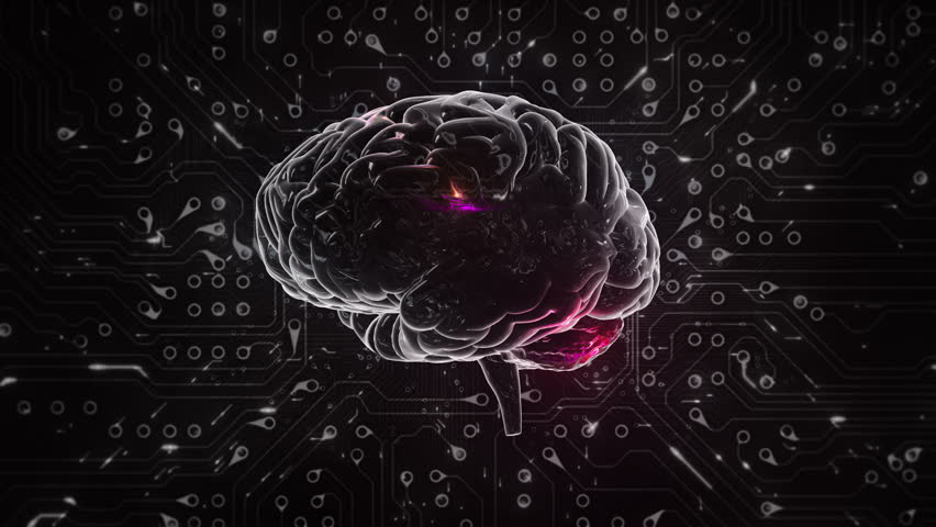 Spinning brain with circuit board background. Loopable. Black and white. Orange. Technology.