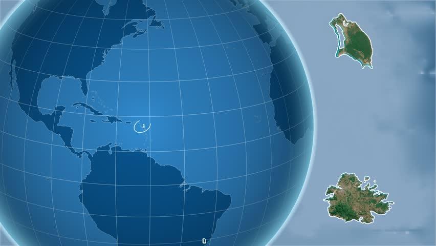 Antigua And Barbuda Shape Animated On The Elevation Map Of The - Globe elevation