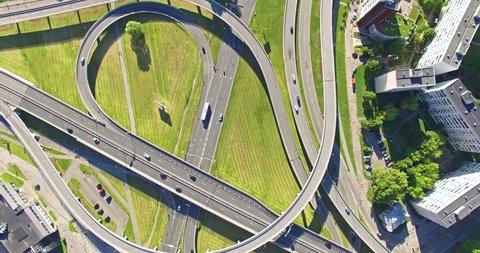 4K - Flying above road interchange in City