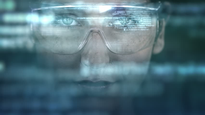 Young woman with holographic glasses. Futuristic. Augmented reality. Dark.