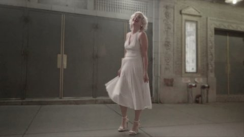Marilyn Monroe from head to toe with Seven Year Itch dress on, laughing and dancing in slow motion, 1080 HD
